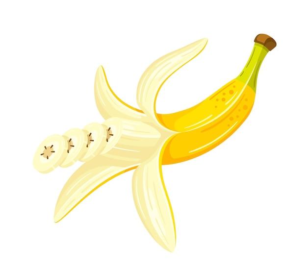 Banane ouverte en illustration de design plat de style dessin animé