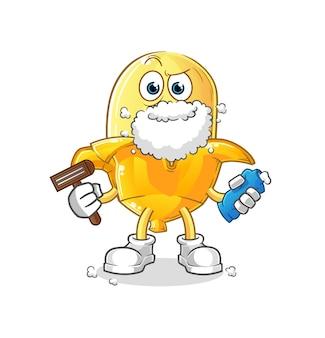 La banane rase les poils du visage. personnage de dessin animé