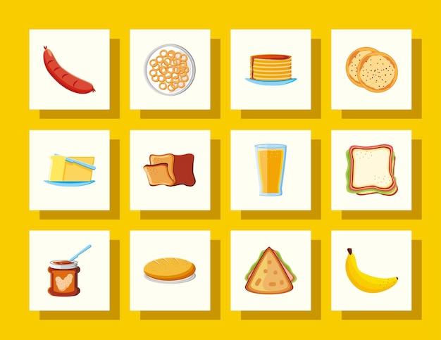 Banane de sandwich de saucisse de nourriture de petit déjeuner