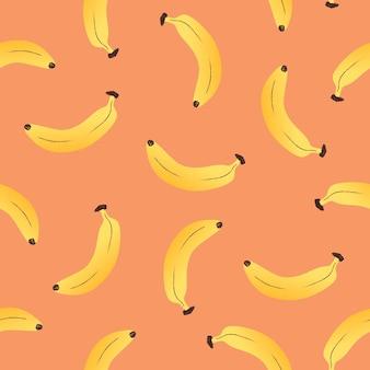Banane sans soudure de fond, illustration vectorielle de nourriture mignon