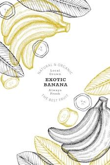 Banane de style croquis dessinés à la main. illustration de fruits frais.