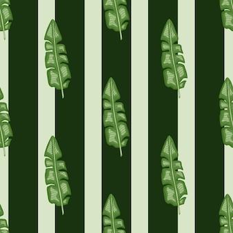 Banane tropique verte laisse le modèle sans couture de silhouettes. fond rayé gris et noir.