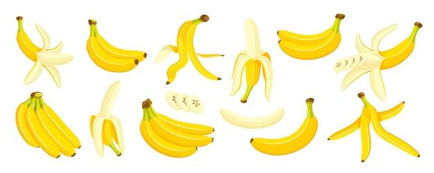 Bananes jaunes sur fond blanc