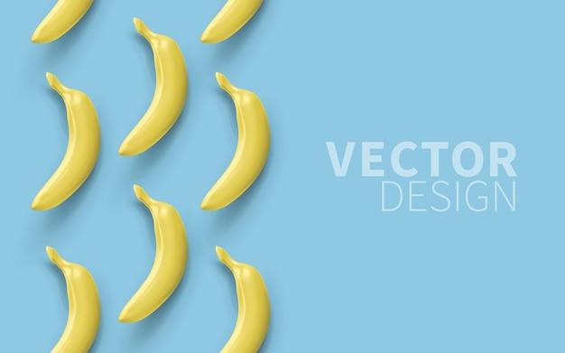 Bananes réalistes isolés sur fond bleu, vue de dessus.