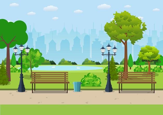 Banc avec arbre et lanterne dans le parc