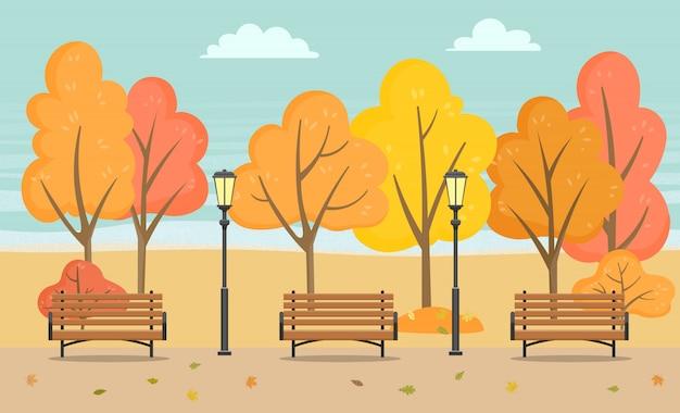 Banc et arbres, saison d'automne dans le vecteur de parc