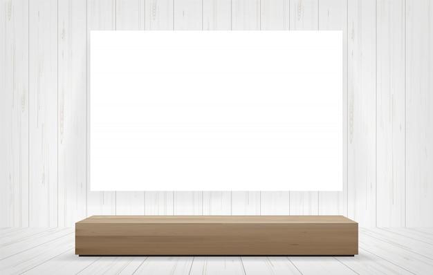 Banc en bois et cadre en toile blanche à l'arrière-plan de l'espace.