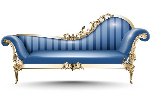 Banc de luxe baroque. meubles de style impérial riche. dessins 3d réalistes de vecteur
