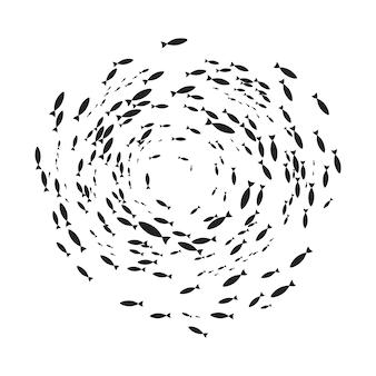 Banc de silhouettes de poissons avec vie marine de différentes tailles