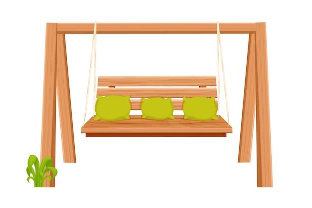 Banc suspendu de meubles d'arrière-cour de balançoire en bois dans le style de dessin animé isolé sur fond blanc