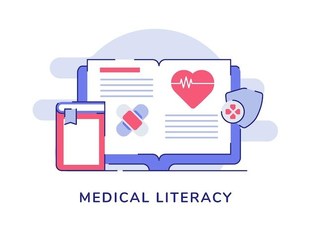 Bandage de battement de coeur livre ouvert concept de littératie médicale