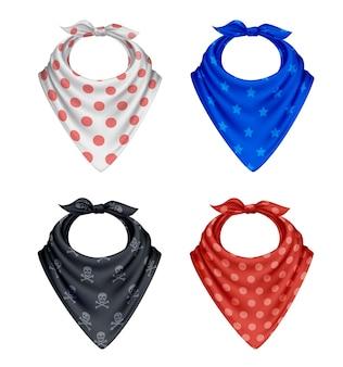 Bandana foulard buff mouchoir polkadot réaliste ensemble de quatre produits textiles colorés