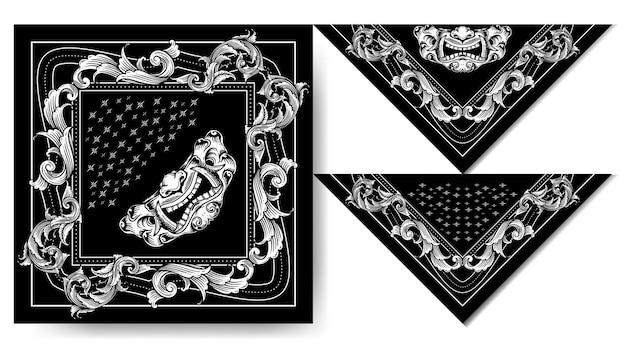Bandana japon hanya masque noir et blanc design vintage