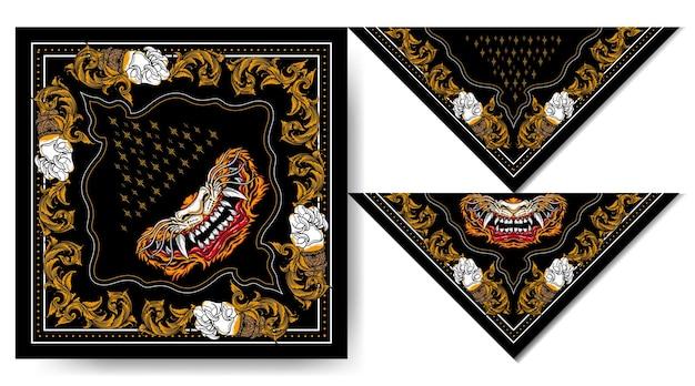 Bandana japon masque de tigre design vintage