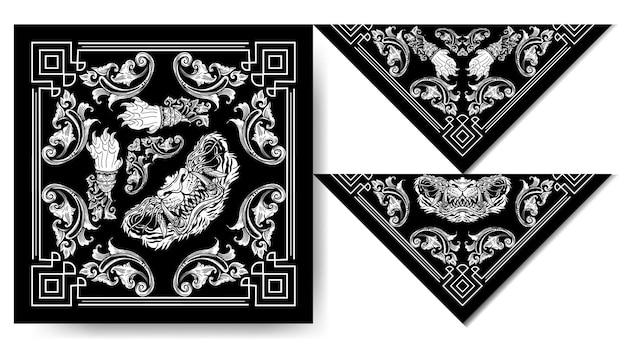 Bandana japon tigre masque noir et blanc design vintage