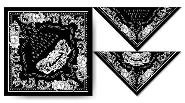 Bandana Japon Tigre Masque Noir Et Blanc Design Vintage Vecteur Premium