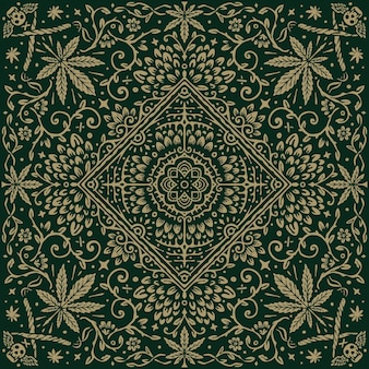 Bandana à motif vintage feuille de cannabis et tournesol