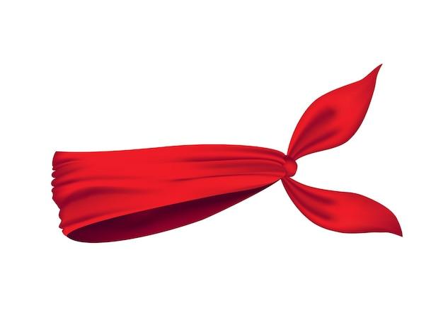 Bandana réaliste rouge sur le cou isolé sur blanc
