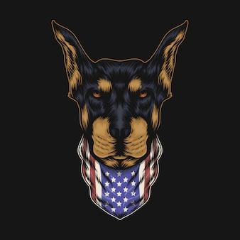 Bandana tête de chien doberman