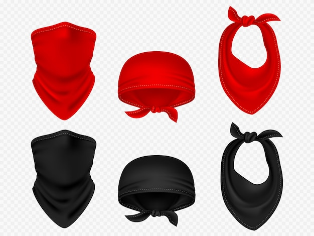 Bandanas tête, foulard et set vector réaliste