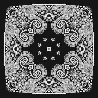 Bandanna paisley ornement motif classique vintage design noir et blanc