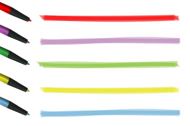 Bande de couleur de surbrillance. ligne de pinceaux dessinés par marqueur.