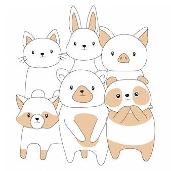 Bande dessinée bébé animaux mignons dessinés à la main
