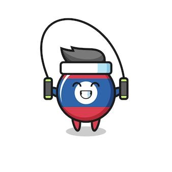 Bande dessinée de caractère d'insigne de drapeau du laos avec la corde à sauter, conception mignonne