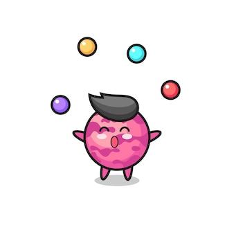 La bande dessinée de cirque de boule de crème glacée jonglant avec une balle, un design de style mignon pour un t-shirt, un autocollant, un élément de logo