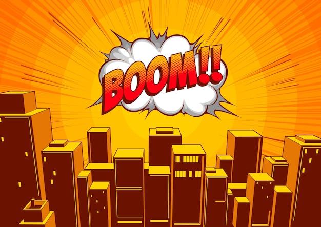 Bande dessinée classique de la ville, fond de dessin animé, illustration des bâtiments et des routes.