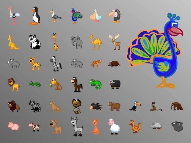 Bande dessinée colorée vecteurs de la faune d'animaux