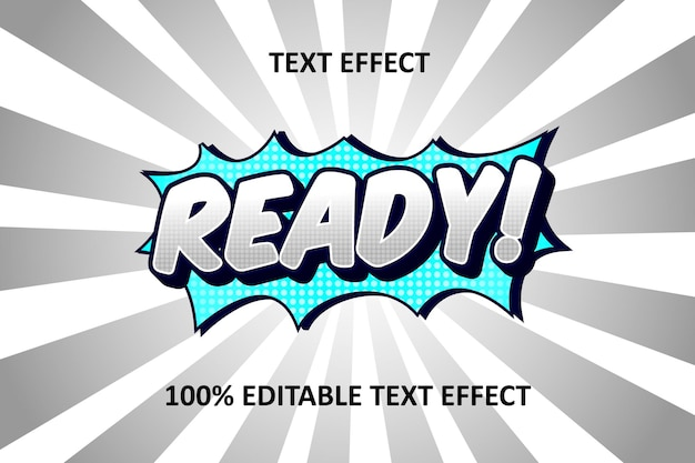 Bande dessinée cyan bleu argent effet de texte modifiable