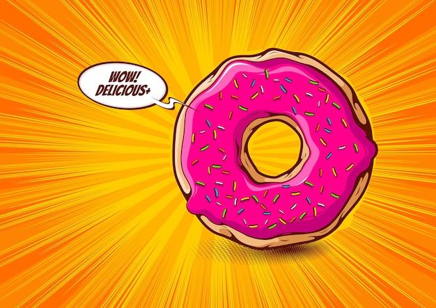 Bande dessinée de dessin animé de beignet, conception d'illustration