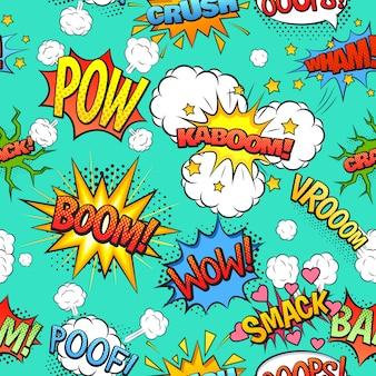 Bande dessinée discours et exclamations boom wow bulles nuages modèle sans couture avec fond vert clair