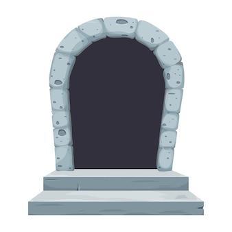 Bande dessinée de fenêtre de porte d'arche de château en pierre dans le style de dessin animé