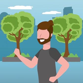 Bande dessinée fitness train de sport