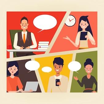 Bande dessinée de gens d'affaires dans la scène de bureau.