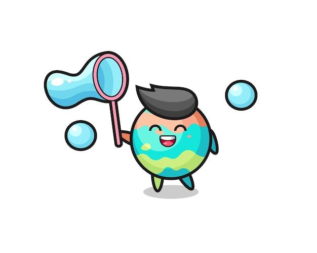 Bande dessinée heureuse de bombes de bain jouant la bulle de savon, conception mignonne de modèle pour le t-shirt, autocollant, élément de logo