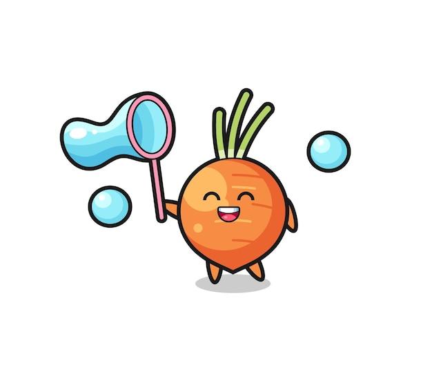 Bande dessinée heureuse de carotte jouant la bulle de savon, conception mignonne de modèle pour le t-shirt, autocollant, élément de logo