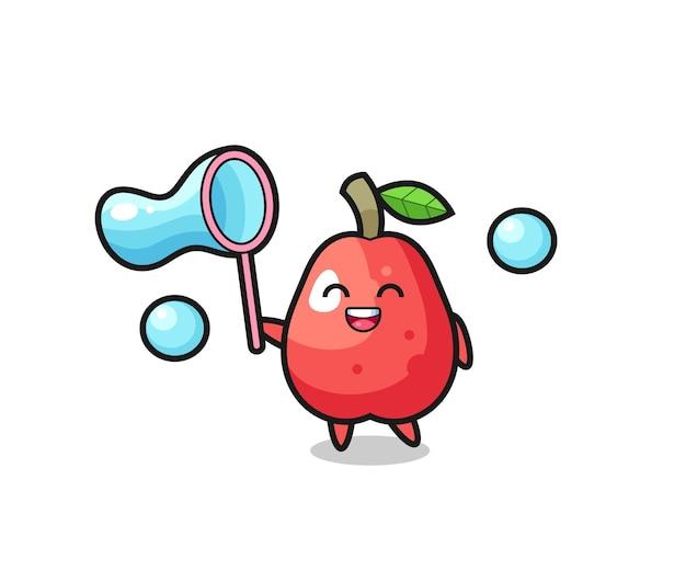 Bande dessinée heureuse de pomme d'eau jouant la bulle de savon, conception mignonne de modèle pour le t-shirt, autocollant, élément de logo