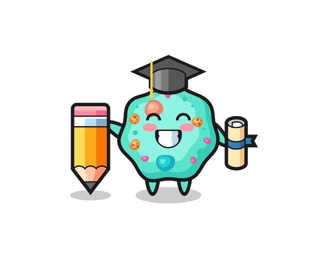La bande dessinée d'illustration d'amibe est l'obtention du diplôme avec un crayon géant, un design de style mignon pour un t-shirt, un autocollant, un élément de logo
