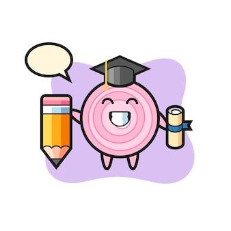 La bande dessinée d'illustration d'anneaux d'oignon est l'obtention du diplôme avec un crayon géant, un design de style mignon pour un t-shirt, un autocollant, un élément de logo