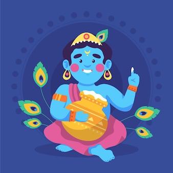 Bande dessinée illustration de bébé krishna mangeant du beurre