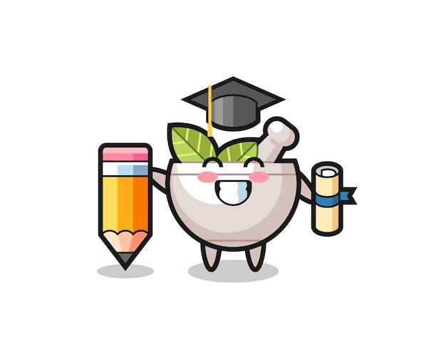 La bande dessinée d'illustration de bol à base de plantes est l'obtention du diplôme avec un crayon géant, un design de style mignon pour un t-shirt, un autocollant, un élément de logo