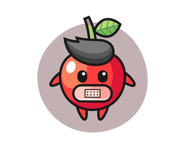 Bande dessinée illustration de cerise avec du ruban adhésif sur la bouche, conception de style mignon