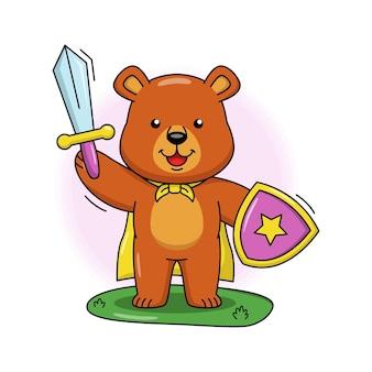 Bande dessinée illustration de chevalier ours mignon
