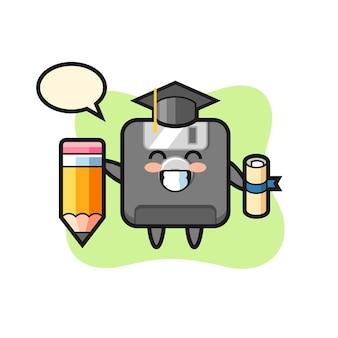 La bande dessinée d'illustration de disquette est l'obtention du diplôme avec un crayon géant, un design de style mignon pour un t-shirt, un autocollant, un élément de logo