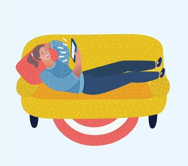Bande dessinée illustration drôle de fille avec tablette se couche sur les chutes sur le canapé. mentir, chatter, sortir ensemble, éduquer et rechercher des informations sur le réseau. concept de design