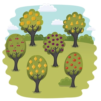 Bande dessinée illustration drôle de jardin avec des arbres fruitiers
