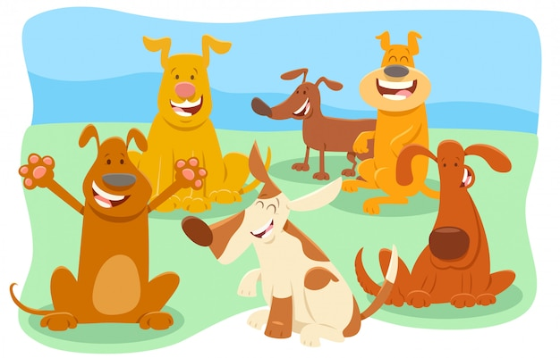 Bande dessinée illustration du groupe d'animaux chiens
